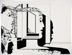 Cultuur verandering, o.i. inkt tekenpen - penseel afm. 50x65 cm.