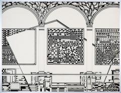 Tijd. tekenpen o.i. inkt afm. 50x65 cm.