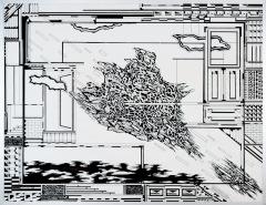 Chaos. tekenpen o.i. inkt afm. 50x65 cm.