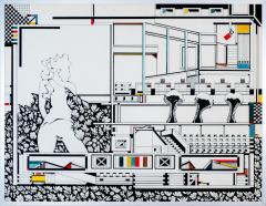 Doorzichtig verleden 4. tekenpen o.i. inkt afm. 50x65 cm.