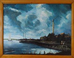 Knipoog naar Jacob van Ruisdael, acryl op paneel afm. 60x80 cm.