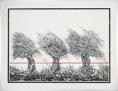 Zonsopgang in 't Gein Abcoude. tekenpen o.i. inkt/ acrylverf afm. 50x65 cm.