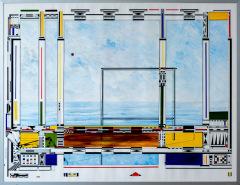 Vergeten landschap 3. tekenpen o.i. inkt / acrylverf afm. 50x65 cm.