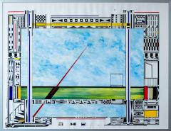 Vergeten landschap 4. tekenpen o.i. inkt / acrylverf afm. 50x65 cm.