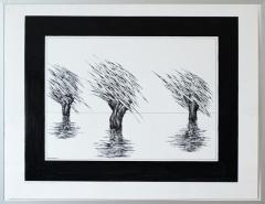 Wateroverlast Roermond (Horn) 1994 1. tekenpen o.i. inkt afm. 50x65 cm.